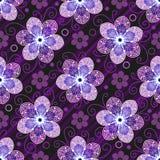 Dunkles purpurrotes nahtloses Muster mit lichtdurchl?ssigen Blumen lizenzfreie abbildung