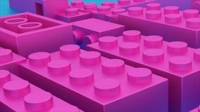 Dunkles Rosa lego Plastikziegelsteine spielen vektor abbildung