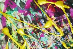Dunkles rosa silbernes Goldstreicht purpurroter Abstraktionshintergrund der flüssigen Bürste Farbe Aquarellfarben-Zusammenfassung Lizenzfreies Stockbild
