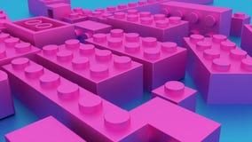 Dunkles rosa Spielwaren lego Plastikziegelsteine lizenzfreie abbildung