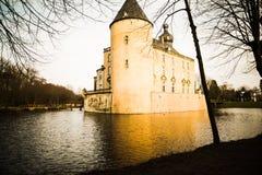 Dunkles Schloss in Muenster Stockfoto
