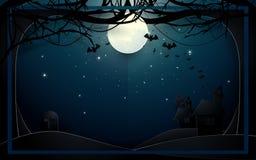 Dunkles Schloss und alte Bäume auf Vollmondhintergrund Glückliche Halloween-Designillustration Lizenzfreies Stockfoto