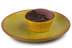 Dunkles Schokoladenmuffin stockfoto