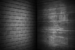 Dunkles schwarzes Ziegelstein-Wand-Muster mit schwarzer Wand-Holz-Beschaffenheit, abstrakter Hintergrund, Kopienraum stock abbildung