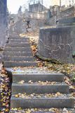 Dunkles Treppenhaus gemacht vom Stein mit Blättern auf Kirchhof, aufwärts Herbst lizenzfreie stockfotos