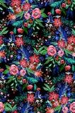 Dunkles und drastisches Muster der wilden Blumen Stockfotos