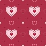 Dunkles und hellrosa nahtloses Herzvektormuster Stockbild
