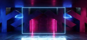 Dunkles vibrierendes Neonpurpur-blaue rosa glühende Lichter Rechteck-Retro- Leuchtstoff Laser-virtueller Realität auf konkretem S lizenzfreie abbildung