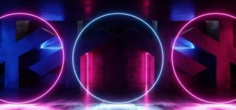 Dunkles vibrierendes Neonpurpur-blaue rosa gl?hende Lichter Kreis-Retro- Leuchtstoff Laser-virtueller Realit?t auf konkretem Schm stock abbildung