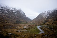 Dunloe空白在冬天,基拉尼,爱尔兰共和国 图库摄影
