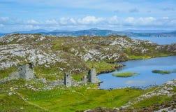 Dunlough城堡,在三座城堡在Mizen半岛朝向,科克郡,爱尔兰 免版税库存照片