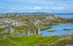 Dunlough Castle, at Three Castles Head, in the Mizen Peninsula, County Cork, Ireland. Dunlough Castle, standing atop the cliffs at the northern tip of the Mizen Royalty Free Stock Photo