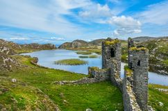 Dunlough Castle, ruins in Three Castles Head, in the Mizen Peninsula. Dunlough Castle, standing atop the cliffs at the northern tip of the Mizen Peninsula, looks Royalty Free Stock Photo