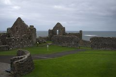 Dunluce Castle, Antrim, Northern Ireland. During cloudy sky stock images