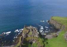 Dunluce Castle Co Antrim Northern Ireland blue sea background for editor's text. Copy writing stock photo