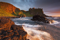 Dunluce Castle II. Sunset Dunluce Castle, Antrim, Northern Ireland Stock Images