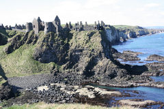 Dunluce Castle N Ireland. Dunluce ancient castle ruins at the North Coast Northern Ireland Stock Photo