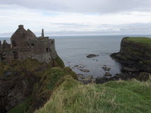Dunluce Castle. 's ruins located in the north of County Antrim - Northern Ireland Stock Photos