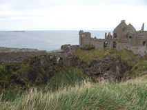 Dunluce Castle. 's ruins located in the north of County Antrim - Northern Ireland Stock Photo