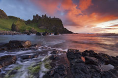 Dunluce Castle. Sunset Dunluce Castle, Antrim, Northern Ireland Stock Photography