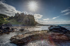 Dunluce Castle. A view of Dunluce Castle, in Ireland, from across the water Stock Image