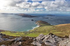 Dunmore-Kopf und Blasket-Inseln stockbild