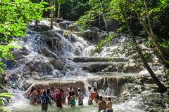 The Dunn`s River Falls are waterfalls in Ocho Rios in Jamaica, which can be climbed by tourists. Royalty Free Stock Photos