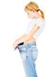 Dunne dame na haar verloren dieet kilogram Stock Afbeeldingen