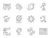 Dunne de astronomiepictogrammen van de lijnstijl Stock Afbeeldingen