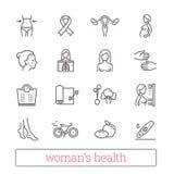 Dunne de lijnpictogrammen van de vrouwen` s gezondheid Geneeskunde, vrouwenschoonheid, actieve levensstijl, gezonde voeding, de v vector illustratie