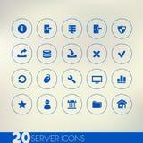 Dunne eenvoudige server blauwe pictogrammen op lichte achtergrond Stock Afbeeldingen
