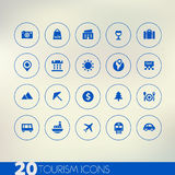 Dunne eenvoudige toerisme blauwe pictogrammen op lichte achtergrond Royalty-vrije Stock Afbeeldingen