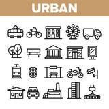Dunne Geplaatste de Lijnpictogrammen van het stedelijke, Stadsleven vector illustratie
