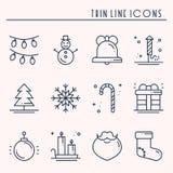 Dunne geplaatste de lijnpictogrammen van de Kerstmisvakantie Het overzichtsinzameling van de nieuwjaarviering De basiselementen v stock illustratie