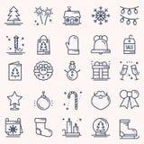 Dunne geplaatste de lijnpictogrammen van de Kerstmisvakantie Het overzichtsinzameling van de nieuwjaarviering De basiselementen v vector illustratie