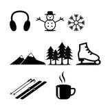 Dunne geplaatste de lijnpictogrammen van de de wintervakantie Het overzichtsinzameling van de nieuwjaarviering royalty-vrije illustratie