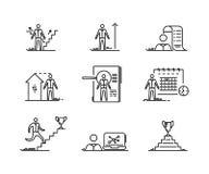 Dunne geplaatste Lijnpictogrammen De groei die van de bedrijfsmensenontwikkeling vectorsymbool van het Financiën en het startover vector illustratie
