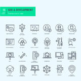 Dunne geplaatste Lijnpictogrammen Pictogrammen voor seo, website en app ontwerp en ontwikkeling Stock Afbeelding