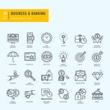 Dunne geplaatste Lijnpictogrammen Pictogrammen voor zaken, bankwezen, e-bankwezen Royalty-vrije Stock Fotografie