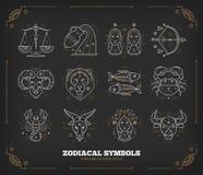 Dunne lijn vector zodiacal symbolen Astrologie, horoscoopteken, grafische ontwerpelementen, drukmalplaatje wijnoogst stock illustratie