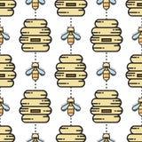Dunne lijnbij en bijenkorf naadloos patroon Stock Foto