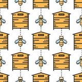 Dunne lijnbij en bijenkorf naadloos patroon Royalty-vrije Stock Afbeelding