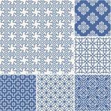 Dunne lijnenachtergronden met eenvoudige Aziatische patronen Stock Foto