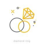 Dunne lijnpictogrammen, Diamond Ring Royalty-vrije Stock Foto