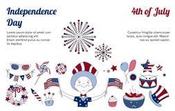 Dunne lijnpictogrammen voor de Onafhankelijkheidsdag van de V.S. Royalty-vrije Stock Afbeeldingen