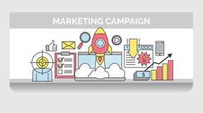 Dunne lijnpictogrammen voor Internet-marketing campagne vector illustratie