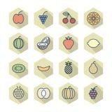 Dunne Lijnpictogrammen voor Vruchten vector illustratie