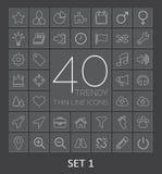40 in Dunne Lijnpictogrammen voor Web en Mobiel Reeks 1 Stock Afbeeldingen
