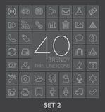 40 in Dunne Lijnpictogrammen voor Web en Mobiel Reeks 2 Stock Foto