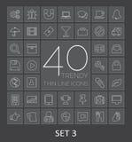 40 in Dunne Lijnpictogrammen voor Web en Mobiel Reeks 3 Stock Afbeeldingen
